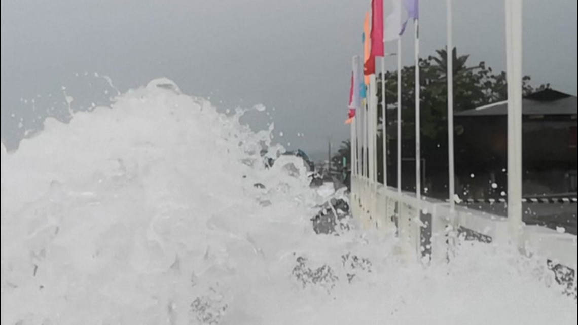 Waves powered by Typhoon Surigae slam the Philippines