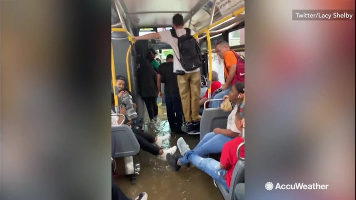 Flooded bus just keeps going