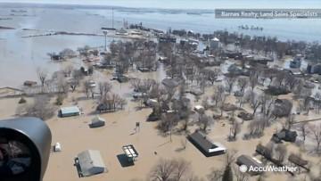 Flyover shows Missouri town underwater