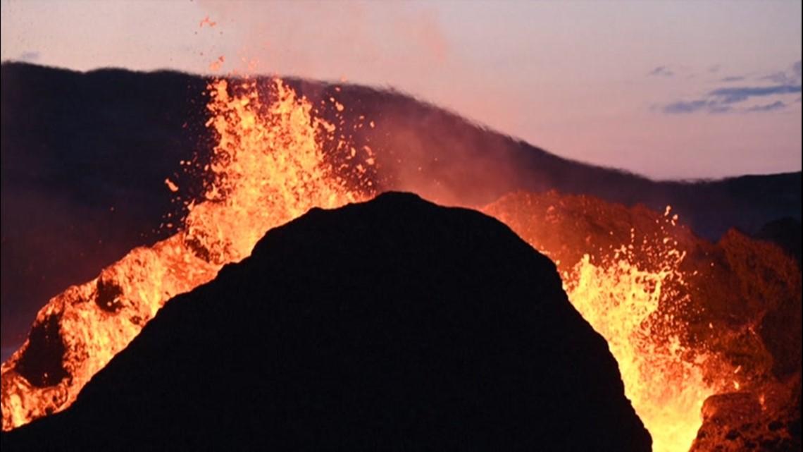 Lava flows from Icelandic volcano