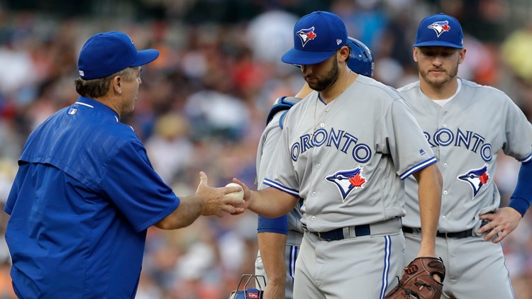 Toronto Blue Jays pitcher Mike Bolsinger is removed  Blue Jays Tigers Baseball