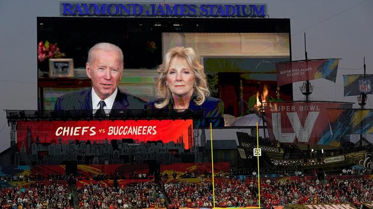 President Biden calls troops at Super Bowl watch parties around the world