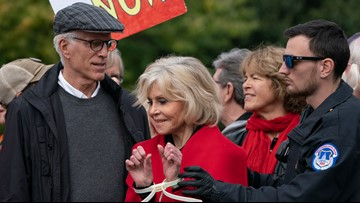 Jane Fonda and Ted Danson arrested while protesting in front of the U.S. Capitol Building