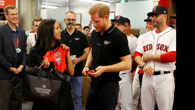 Red Sox give jersey for Archie to Prince Harry and Meghan, the Duchess of Sussex.