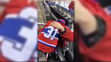 Hockey player Carey Price takes a moment to comfort young fan who lost mom