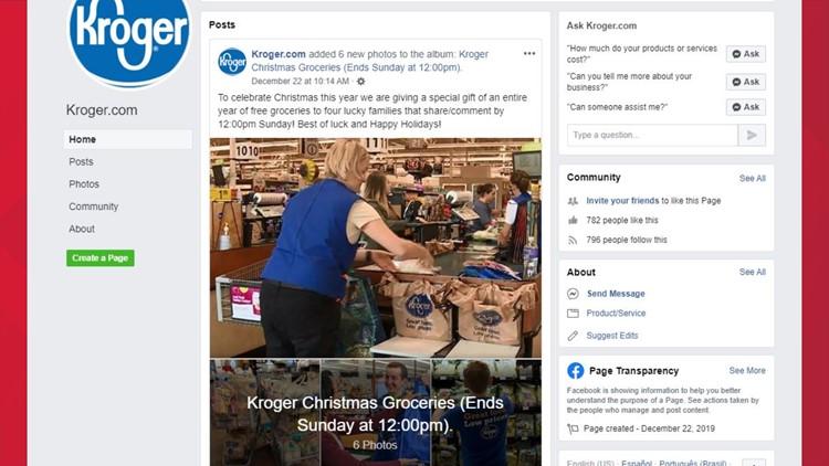 Fake Kroger Facebook page