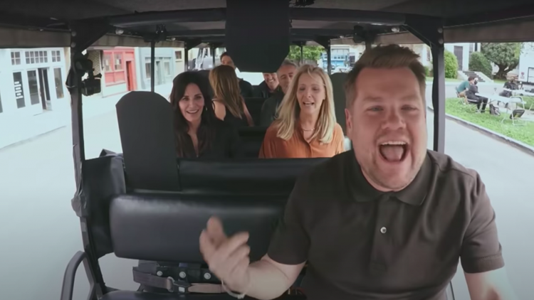 'Friends' Cast Sings the Theme Song With James Corden Before He 'Nearly Kills' Them