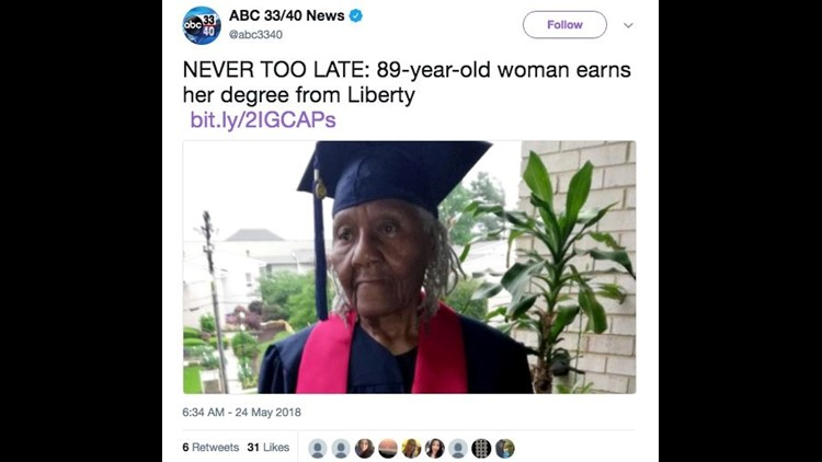 89-year-old woman graduates college — and is now pursuing another