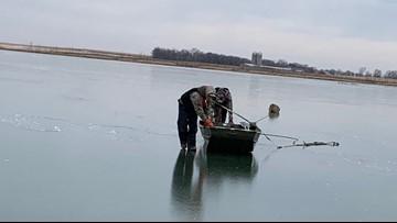 Strangers bond while saving deer stuck on ice