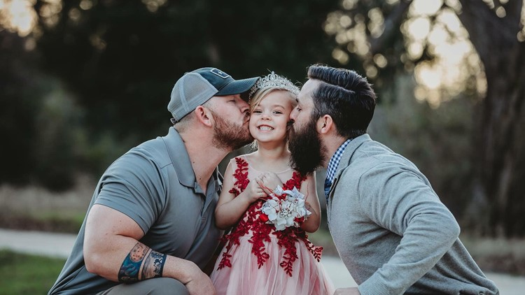 Viral dads Dylan Lenox and David Lewis with Willow