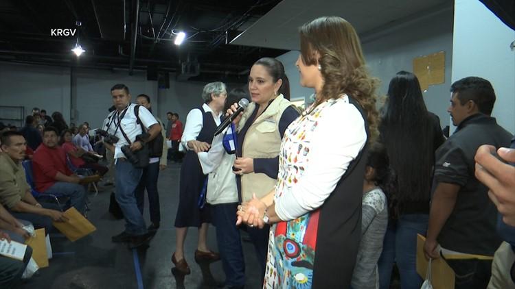 First Lady of Honduras Ana Garcia De Hernandez addresses migrants at the Catholic Respite Center