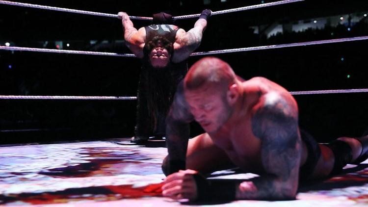 Bugs are projected onto the mat during Bray Wyatt's match against Randy Orton at Wrestlemania in 2017. Photo courtesy WWE