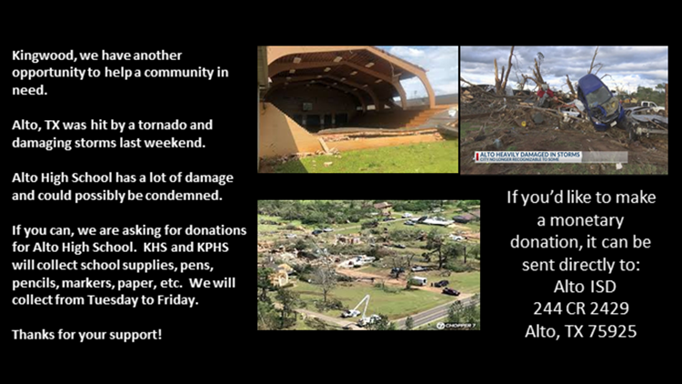 Kingwood High School is paying it forward by supporting a school devastated by a natural disaster