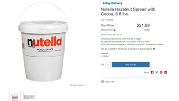 Costco sells a 7-pound tub of Nutella for all you hazelnut spread addicts