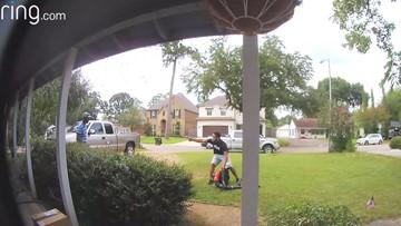 Crazy video: Robber steals gardener's leaf blower at gunpoint