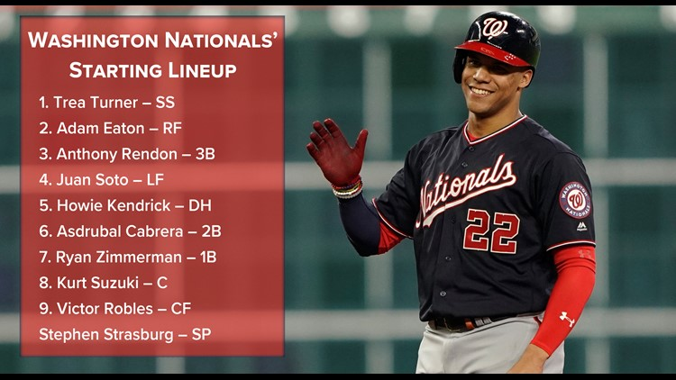 Washington Nationals starting lineup Game 2 World Series