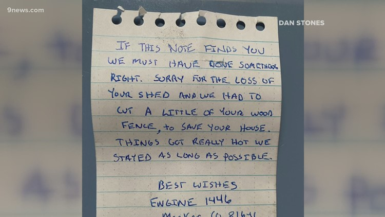 'This is heroic': Man finds note after fire crews save his home from East Troublesome Fire