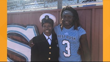 VIDEO: Navy officer, son share tear-jerking reunion during West Rusk homecoming celebration