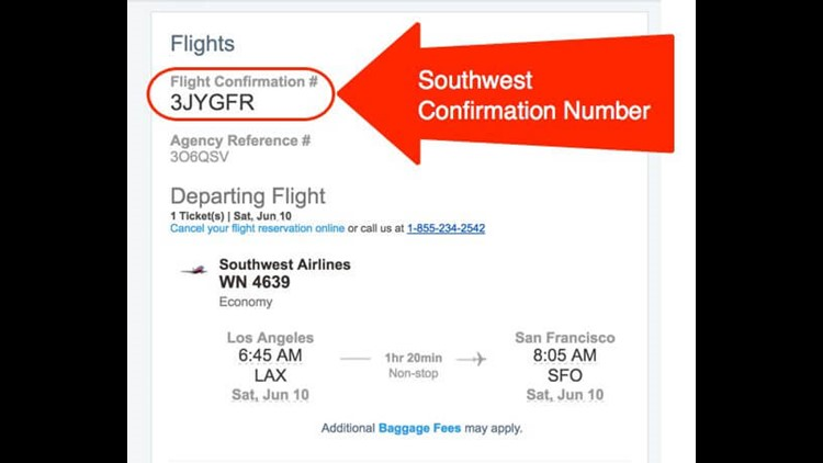 Find your Southwest confirmation number in the email from Chase.