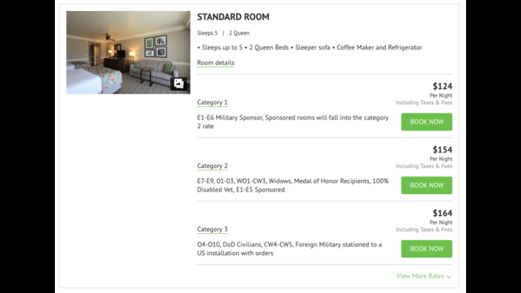 Pricing for a room at Shades of Green in January 2020.