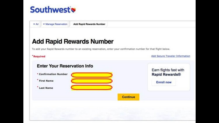 Enter your Southwest confirmation number and name