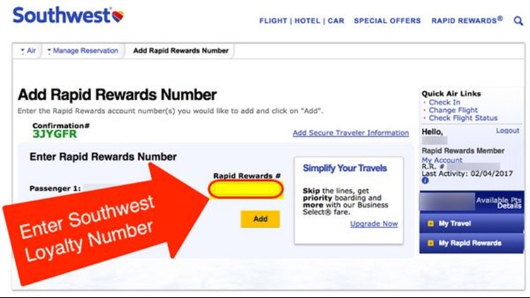 Add your Southwest loyalty number.