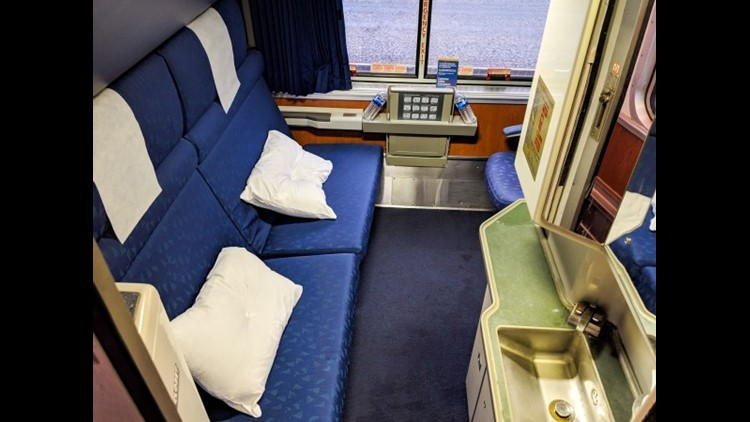 A bedroom on the Superliner is ideal for two passengers but can hold up to three. There's an in-room toilet and shower.
