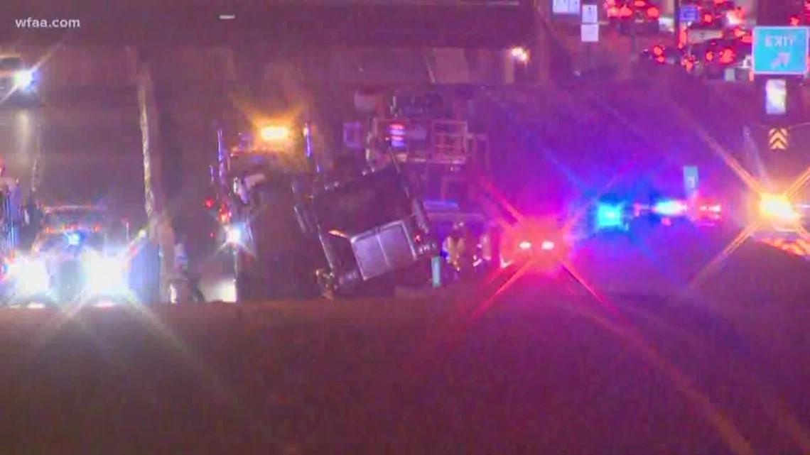 Semi Trailer Tractor Truck Accident Shuts Down Dallas