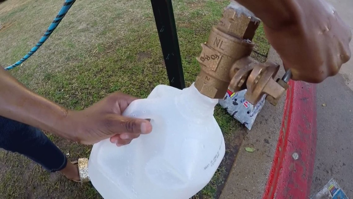Some Arlington residents getting water from a fire hydrant as apartment complex fixes burst pipes
