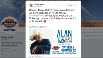 Famed country artist Alan Jackson to play Dickies Arena this February
