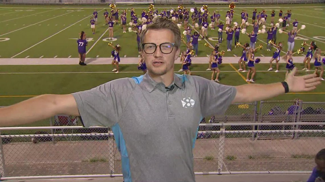 Heading back to school for a pep rally with Denton High School