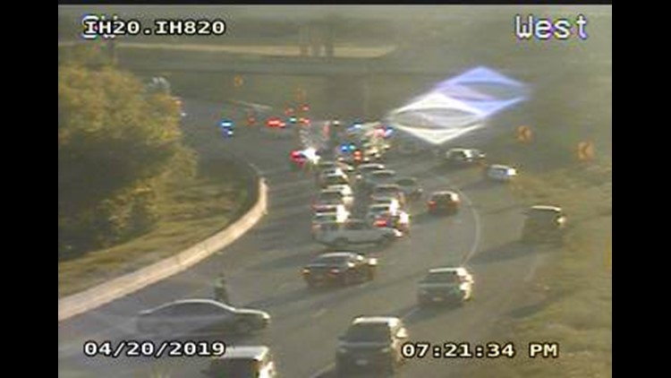 All lanes of westbound I-20 near I-820 shut down due to
