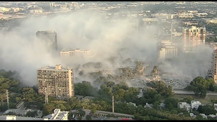 Crews implode 9-story building in Uptown Dallas