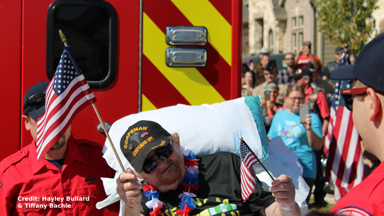 'It was like our town of Forney shut down' | Community turns out to welcome home veteran on hospice