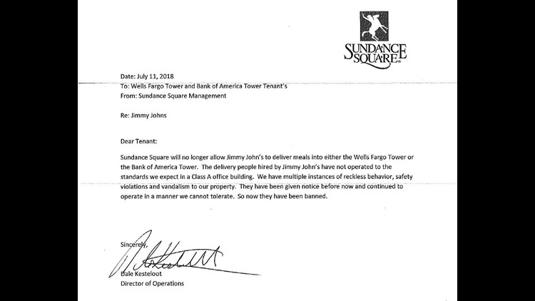 Tenant letter obtained by WFAA
