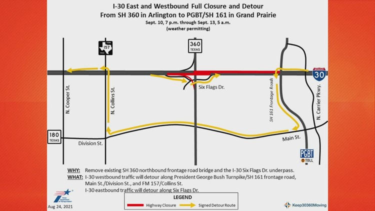Section of I-30 in Arlington to be closed in both directions this weekend due to demolition