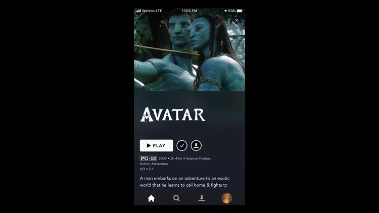 Disney+ mobile screen on iPhone