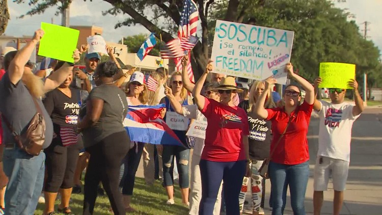 'People are being chased in the streets': North Texas Cubans hold rally, caravan to D.C. in solidarity with protestors in Cuba