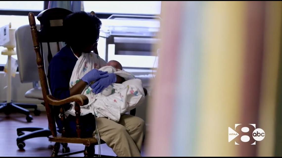 WFAA Original: Volunteer cuddlers bring comfort to NICU babies at Medical City Plano