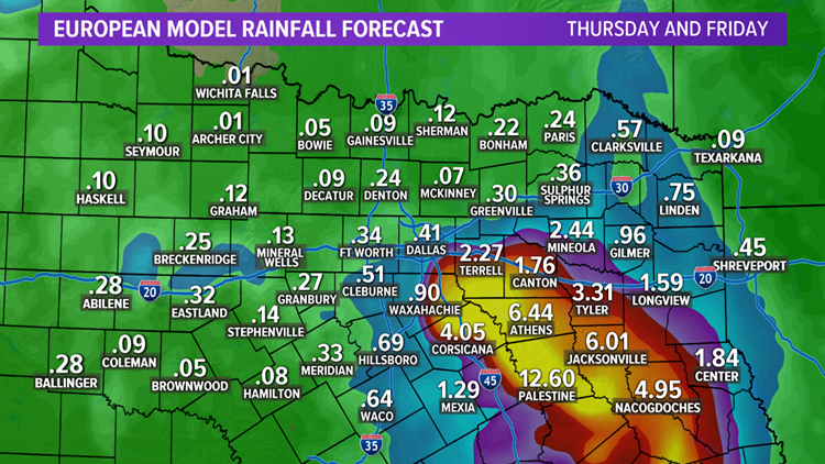 Imelda could bring scattered showers and storms to DFW on Thursday and Friday.