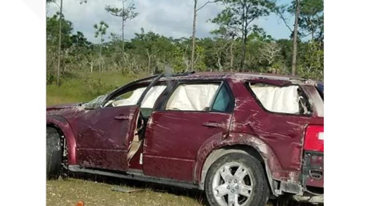 Single vehicle crash near Carmelita, Belize