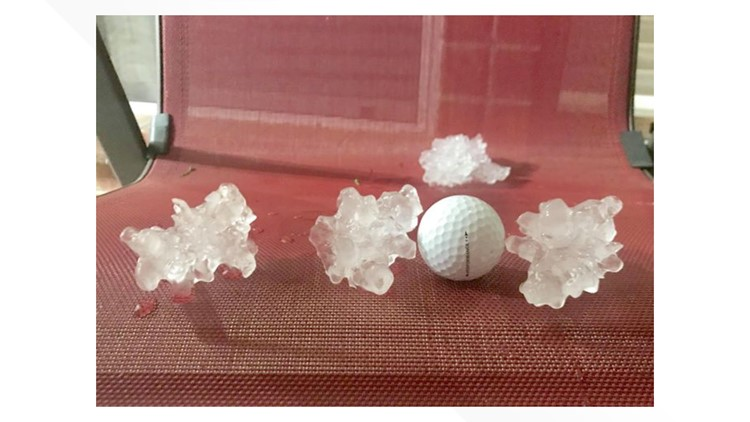 Golf-ball sized hail in Fort Worth