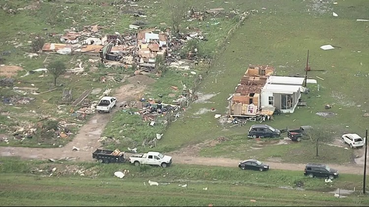 RAW: Aerial footage of damage in the Waxahachie-Forreston area