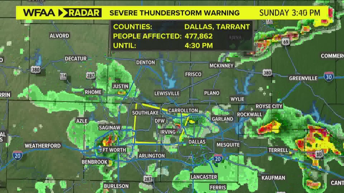 D-FW weather: Severe thunderstorm warnings for parts of North Texas Sunday