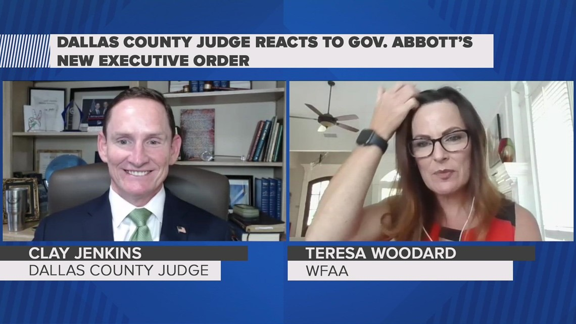 Dallas County Judge Clay Jenkins reacts to Gov. Abbott's new executive order