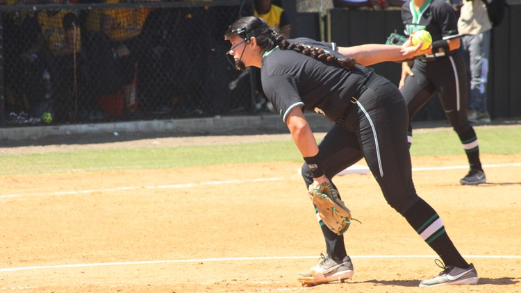 North Texas softball pitcher talks about throwing first perfect seven-inning game in NCAA Division I history