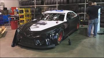 Timelapse: 'Back the Blue' NASCAR vehicle comes together