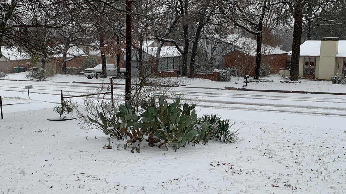 Snowfall blankets North Texas