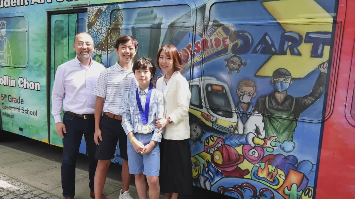 Greenhill School student wins DART art contest; winning drawing featured on bus