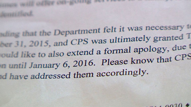 A portion of the apology letter that Dana Gibson received from Child Protective Services.